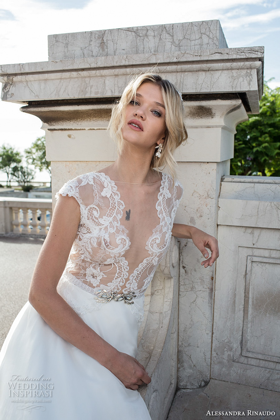 alessandra rinaudo 2017 bridal cap sleeves illusion bateau deep plunging v neck heavily embellished bodice princess romantic a ling wedding dress illusion back royal train (2) zv
