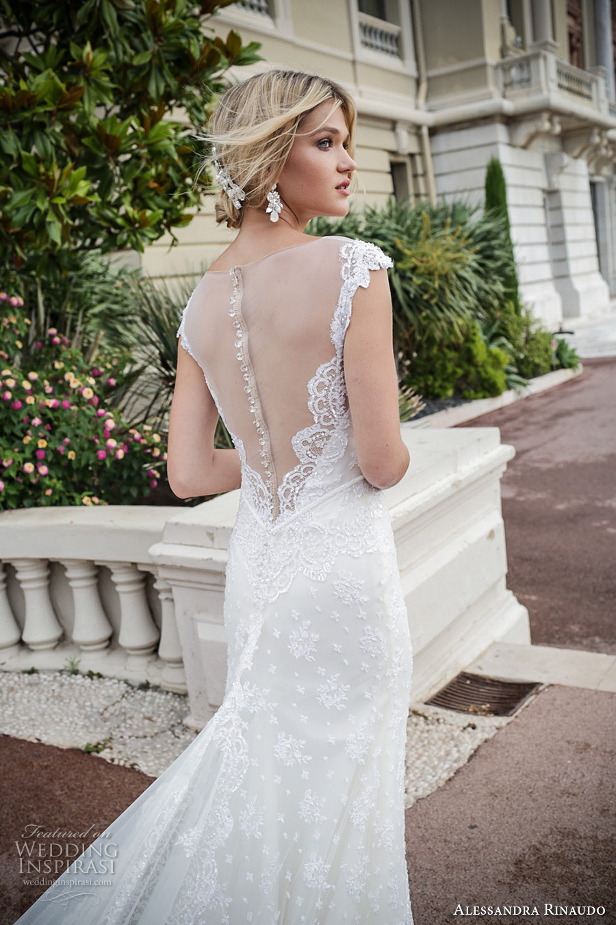 alessandra rinaudo 2017 bridal cap sleeves illusion boat deep plunging neckline full embellishment elegant sheath wedding dress illusion back royal long train (3) zbv