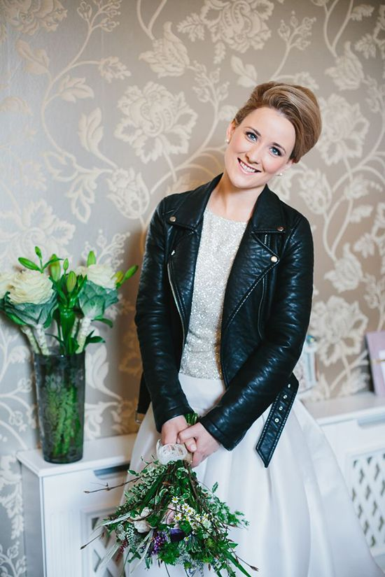 sequin wedding dress with a cropped leather motorcycle jacket