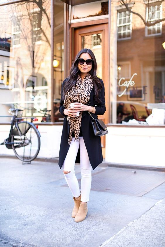 white skinnies, a black long blazer, neutral ankle boots and a leopard-print scarf