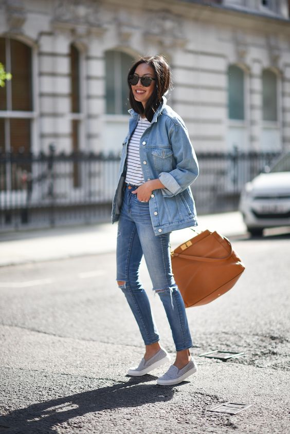 blue denim, a striped tee and grey slip-ons