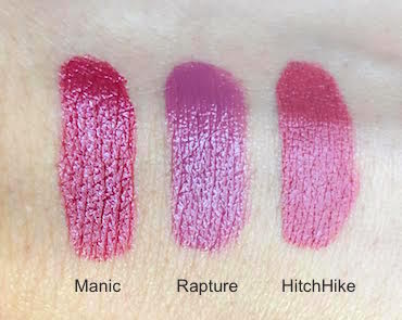 Urban Decay Vice Lipstick swatches Manic, Rapture and HitchHike