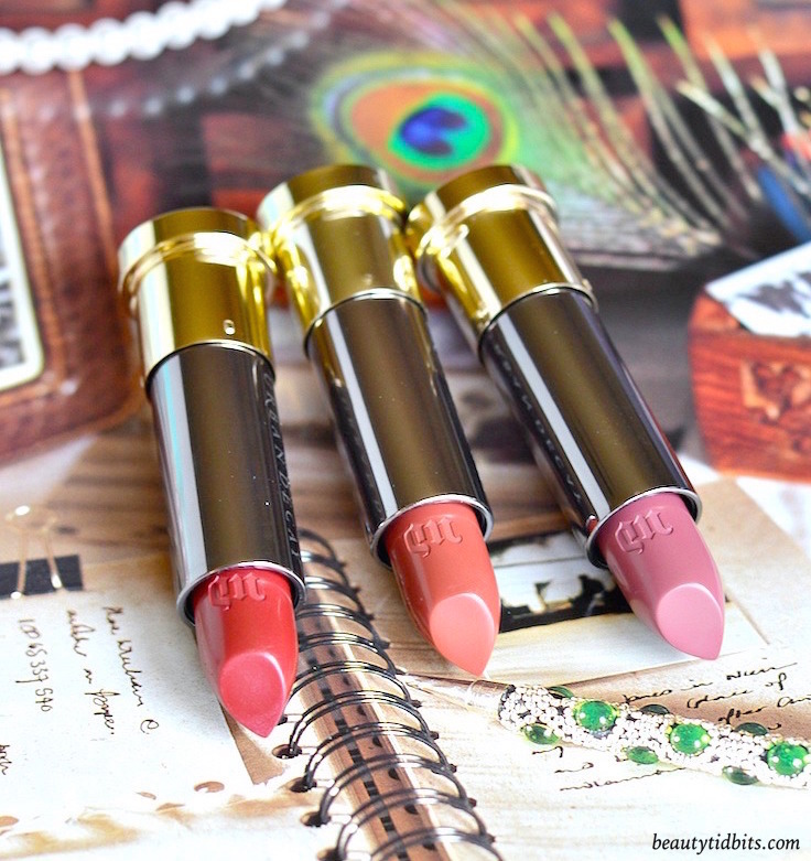 Urban Decay Vice Lipsticks in Manic, Hitch Hike and Rapture - click through to see more photos and swatches!