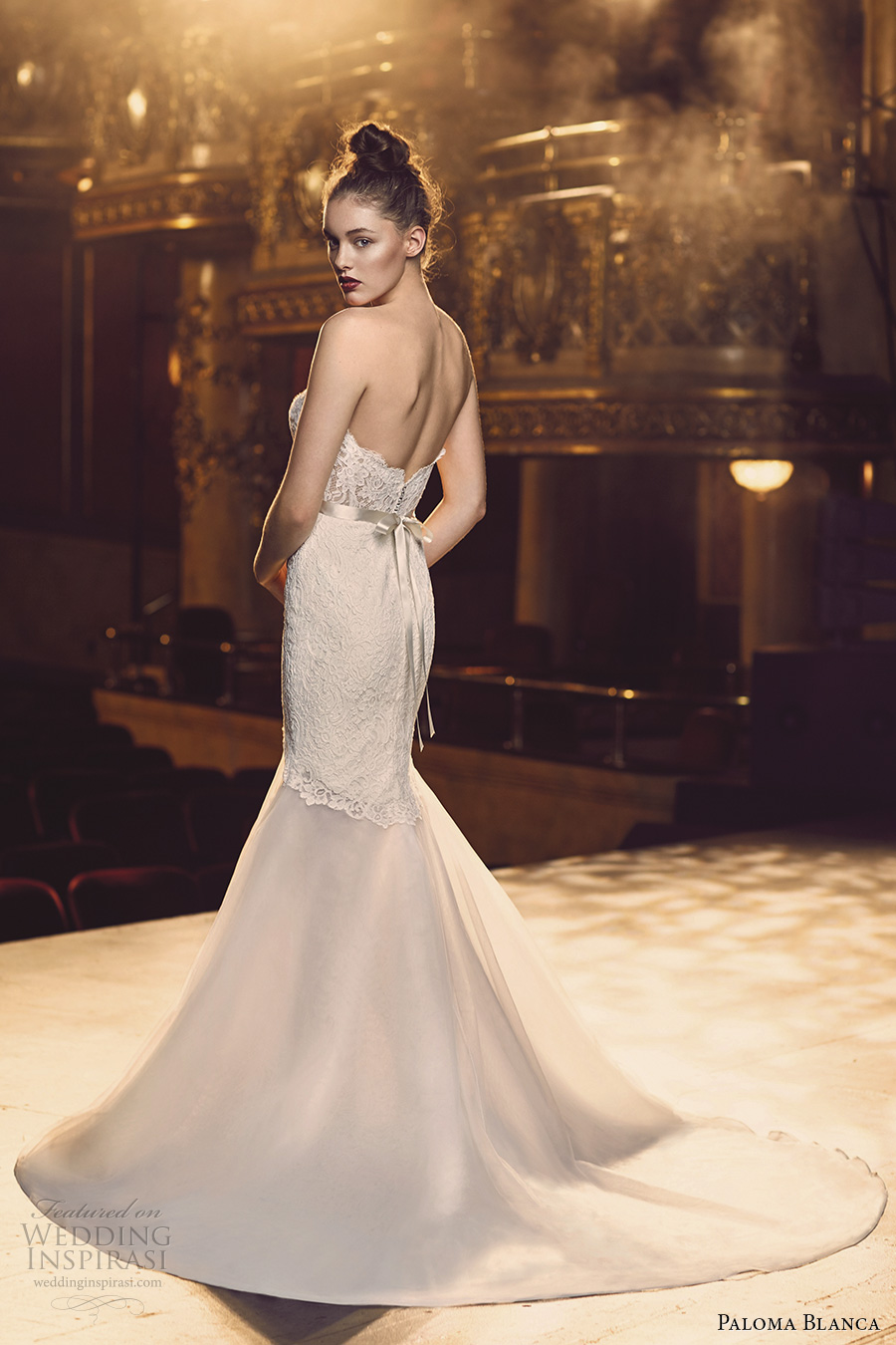 paloma blanca fall 2016 bridal strapless sweetheart neckline bustier heavily embellished bodice sexy trumpet wedding dress chapel train (4700) bv