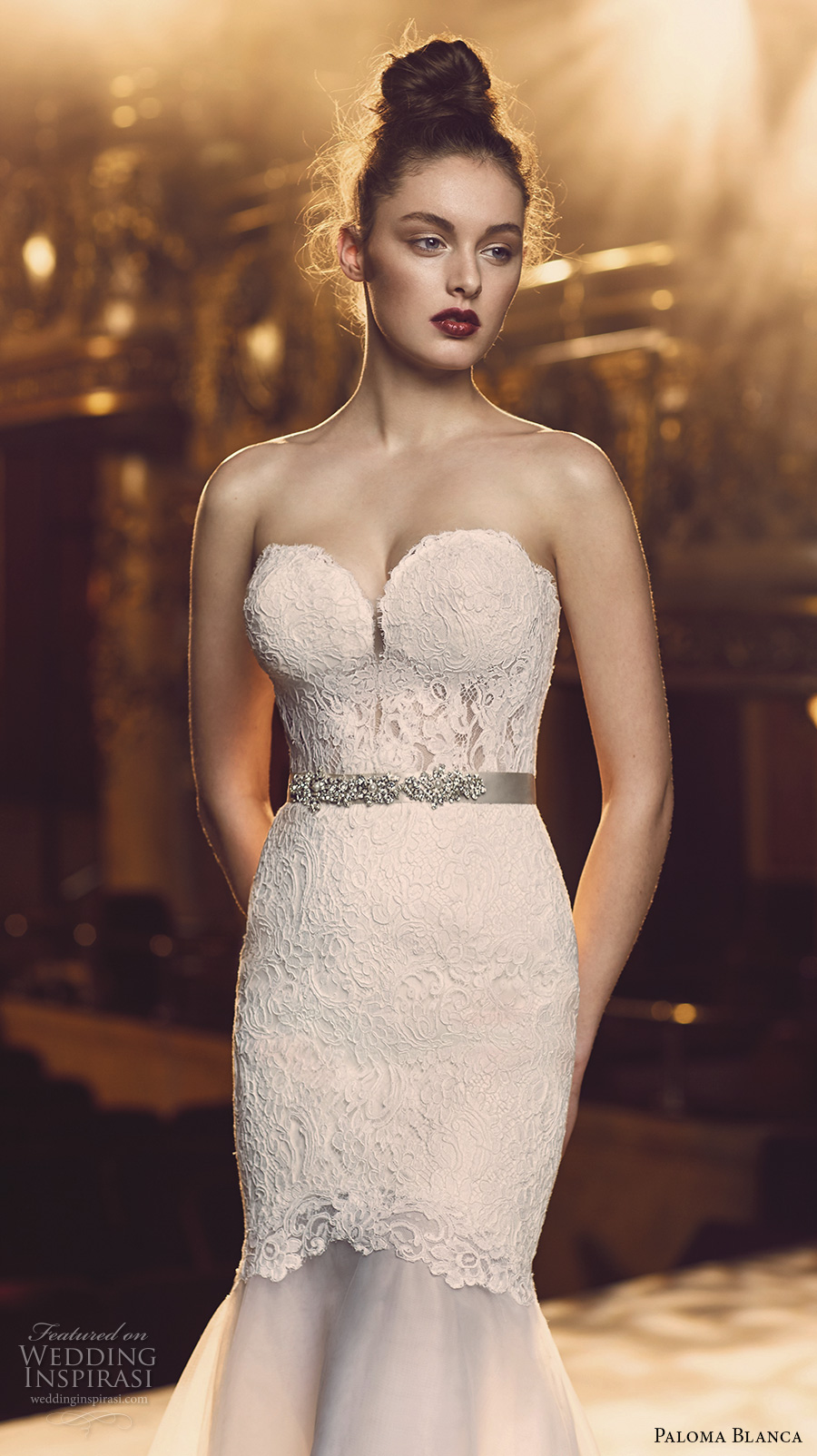 paloma blanca fall 2016 bridal strapless sweetheart neckline bustier heavily embellished bodice sexy trumpet wedding dress chapel train (4700) zv