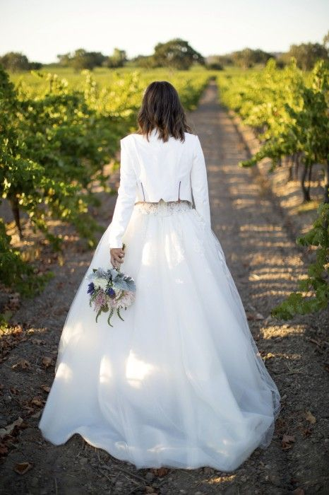 gorgeous white lace and tulle dress and a cropped white jacket