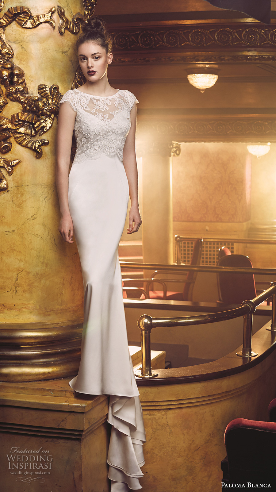 paloma blanca fall 2016 bridal cap sleeves boat neckline lace bolero simple clean bodice classic elegant fit and flare wedding dress low back sweep train (4709) mv