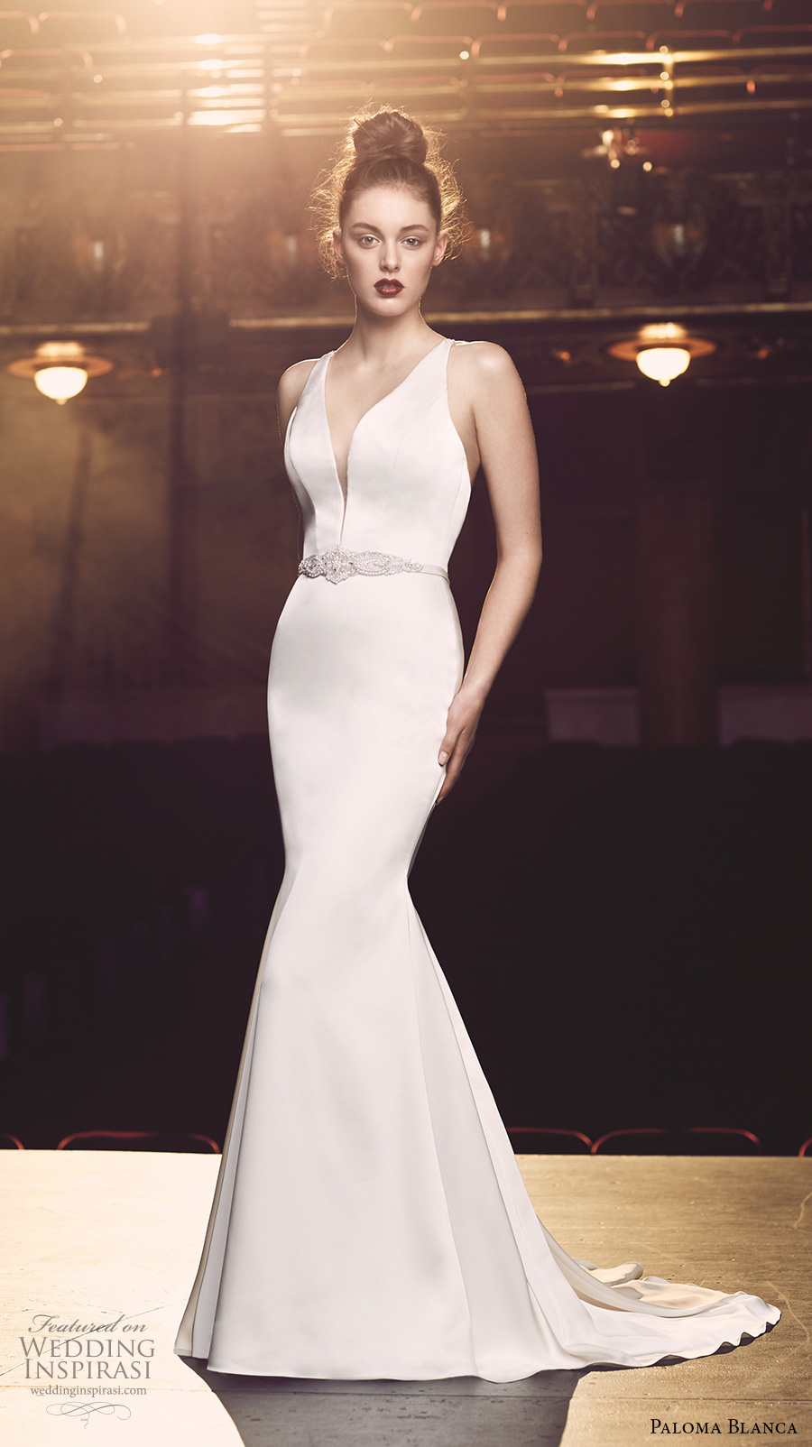 paloma blanca fall 2016 bridal sleeveless v neck deep plunging neckline embellished belt simple chic clean mermaid wedding dress low back sweep train (4714) mv
