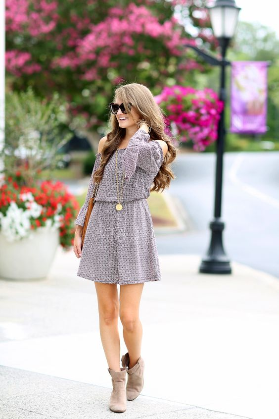 printed off the shoulder dress, ankle boots