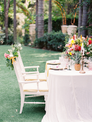 Tropical wedding reception in a botanical garden with a Hawaiian wedding theme | Angelica Chang Photography