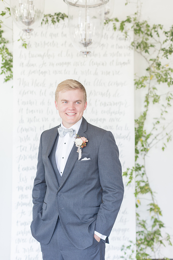 gray tuxedos - photo by Ryan & Alyssa Photography http://ruffledblog.com/french-couture-wedding-inspiration