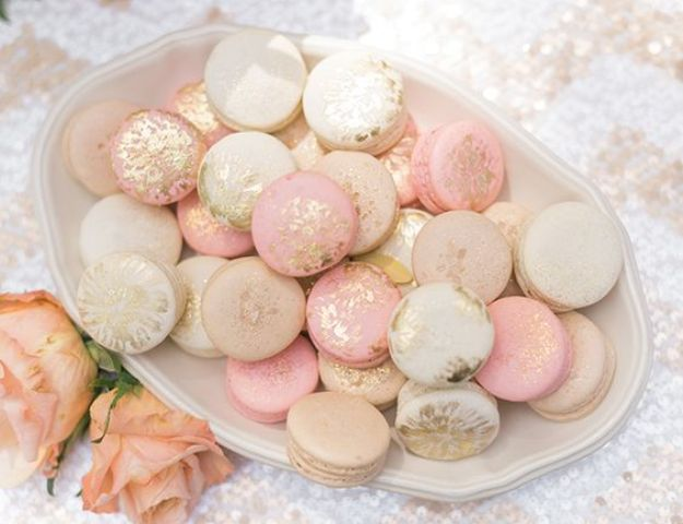 blush and cream macarons with gold glitter