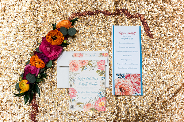 floral wedding invitations - photo by A.J. Dunlap Photography http://ruffledblog.com/brightly-colorful-sequined-wedding