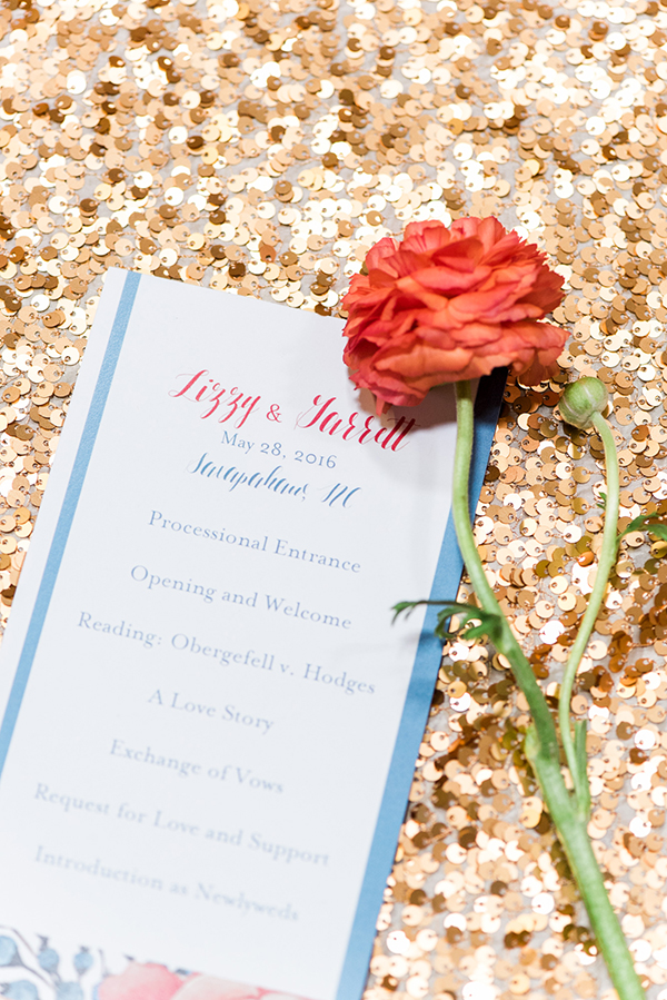 wedding programs - photo by A.J. Dunlap Photography http://ruffledblog.com/brightly-colorful-sequined-wedding