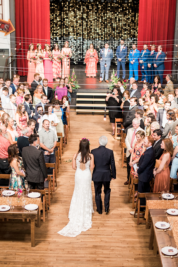 wedding processional - photo by A.J. Dunlap Photography http://ruffledblog.com/brightly-colorful-sequined-wedding