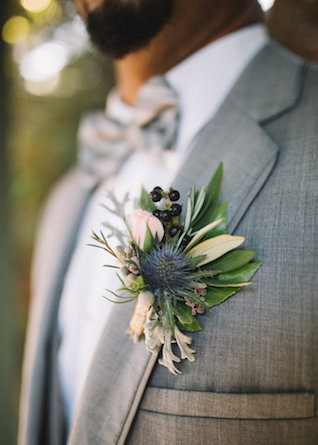 Thistle boutonnière | Palafox Street Weddings