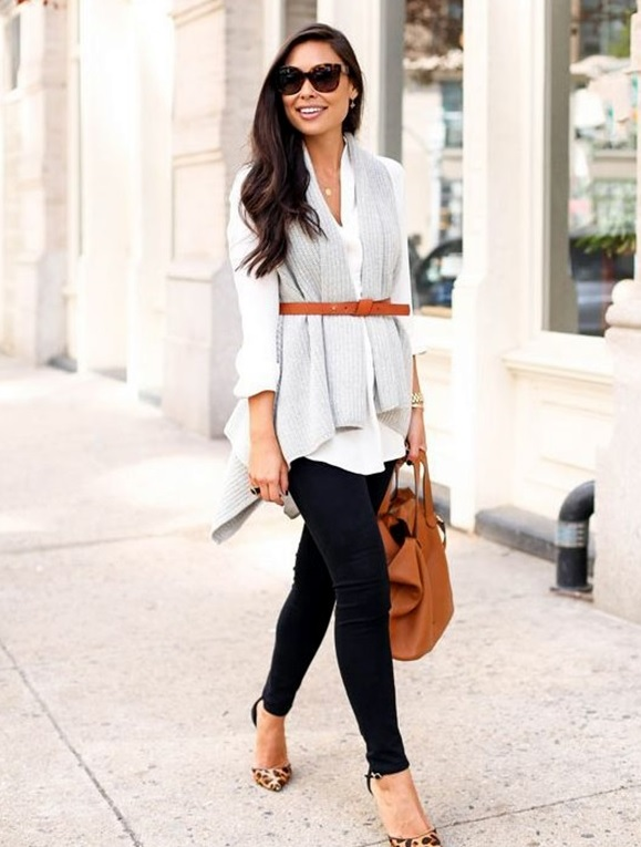 black jeans, a white shirt, a grey scarf and a thin tan belt