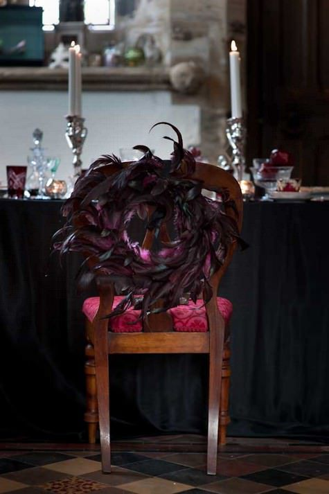 dark purple feather wreaths for chair decor