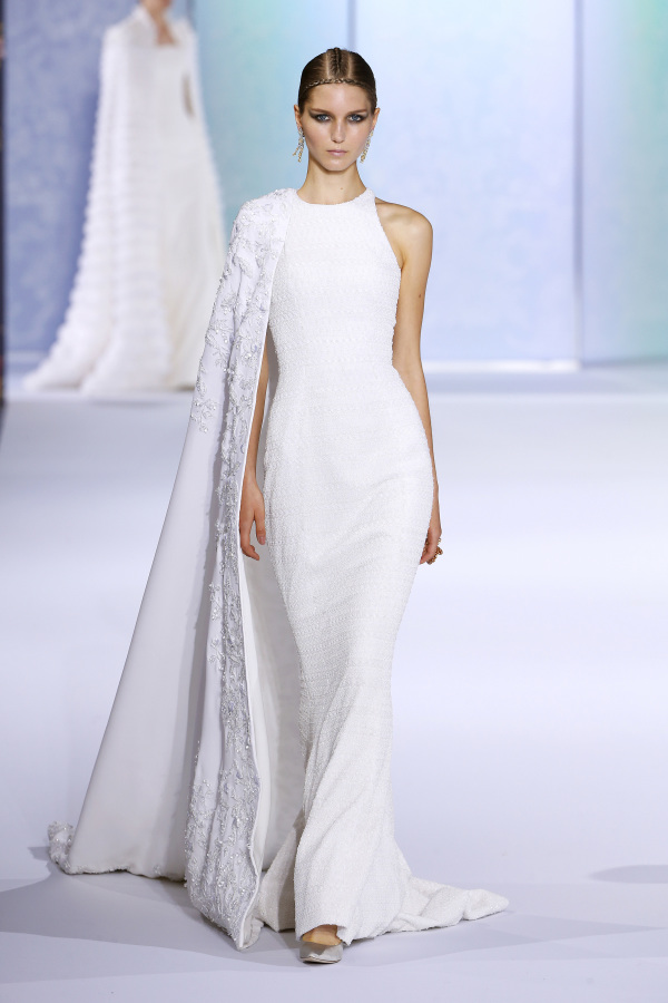 Ralph&Russo halter neckline white wedding dress with a cover