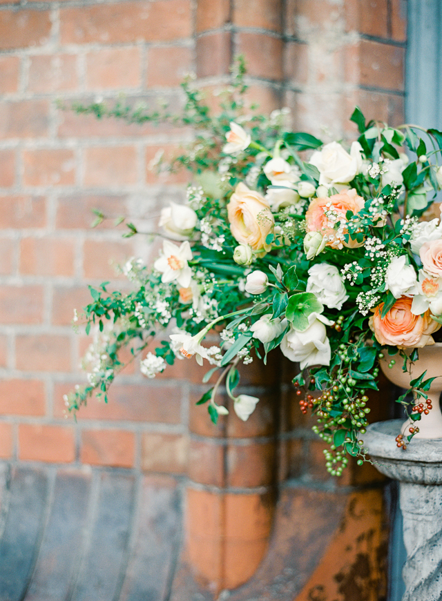 Peach and green floral centerpiece | Kir & Ira Photography