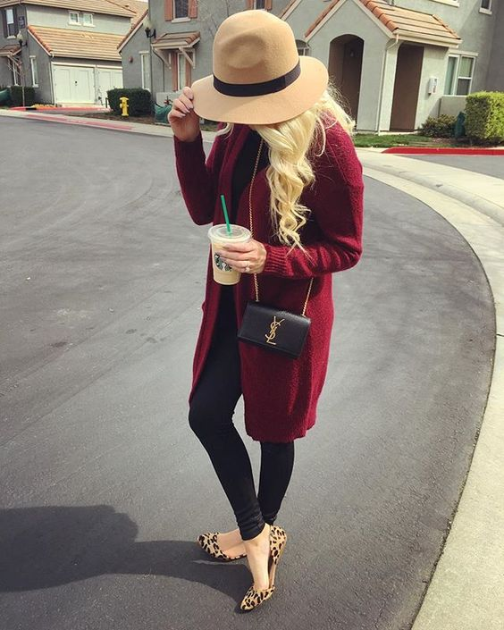 burgundy cardigan, leather pants, leopard flats, a floppy hat