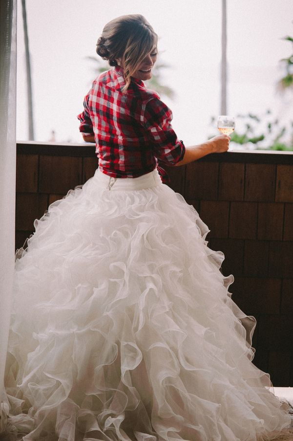 a red plaid shirt with a ruffled wedding gown
