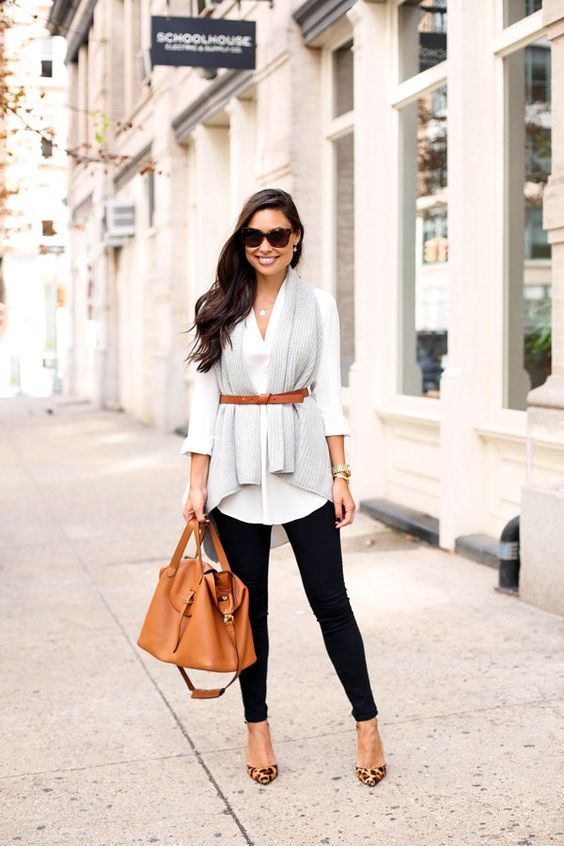 black jeans, a white shirt, a knit scarf and leopard shoes (perfect for work outfit)