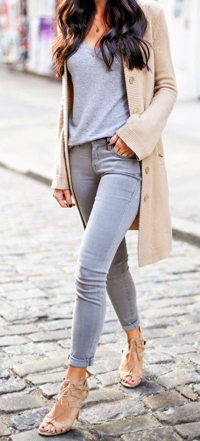 grey jeans, a grey tee, a nude cardigan and heels