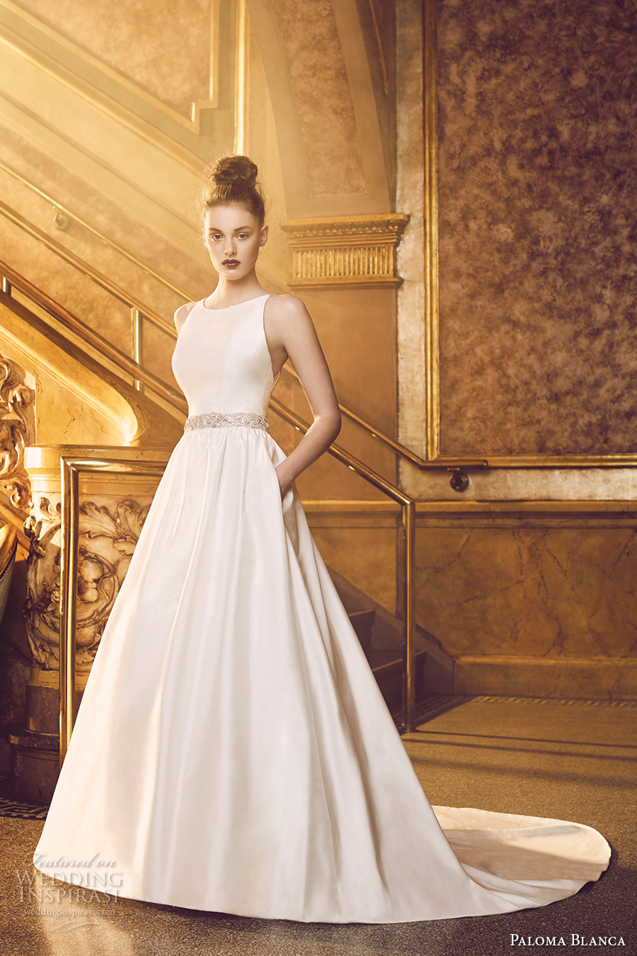 paloma blanca fall 2016 bridal sleeveless round neckline simple clean bodice elegant romantic a line wedding dress with pockets low back chapel train (4719) mv