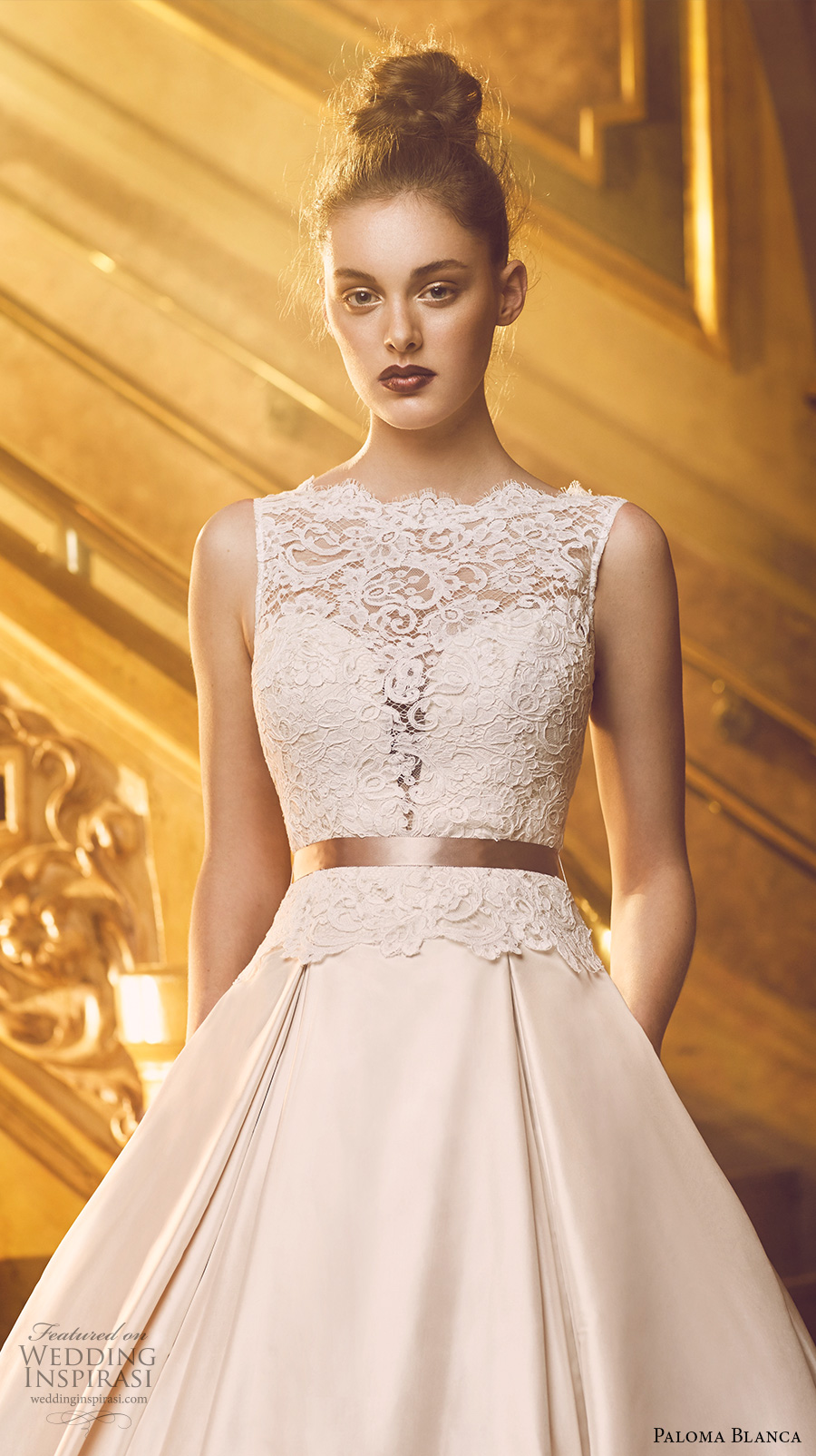 paloma blanca fall 2016 bridal sleeveless scallop bateau neckline heavily embellished bodice beautiful princess romantic a line ball gown wedding dress with pockets v back chapel train (4720) zv