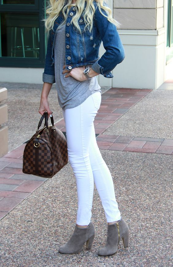 white jeans, a grey tee, grey suede ankle boots, cropped jacket