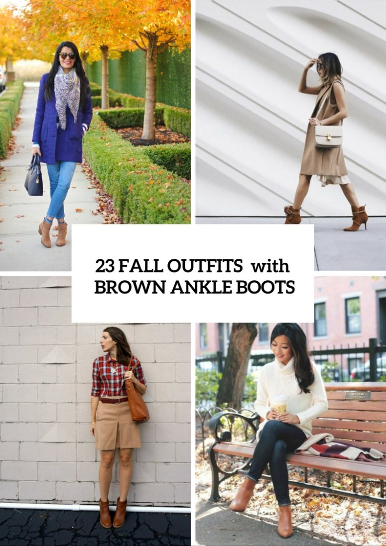 Super Cool Fall Outfits With Brown Ankle Boots