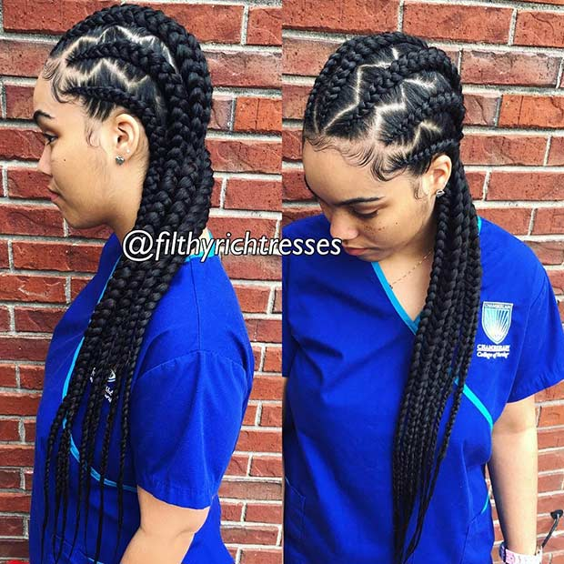 Straight Back Cornrows with Zig Zag Parting