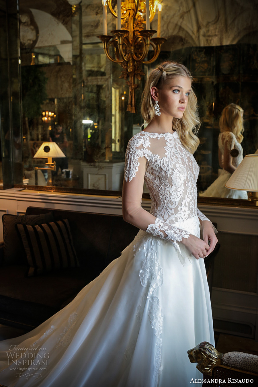 alessandra rinaudo 2017 bridal long sleeves round neck lace heavily embellished bodice drop waist elegant a line wedding dress lace back long train (29) zv