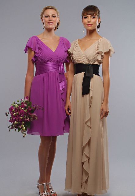 Chiffon V-neckline cascade dress ideas