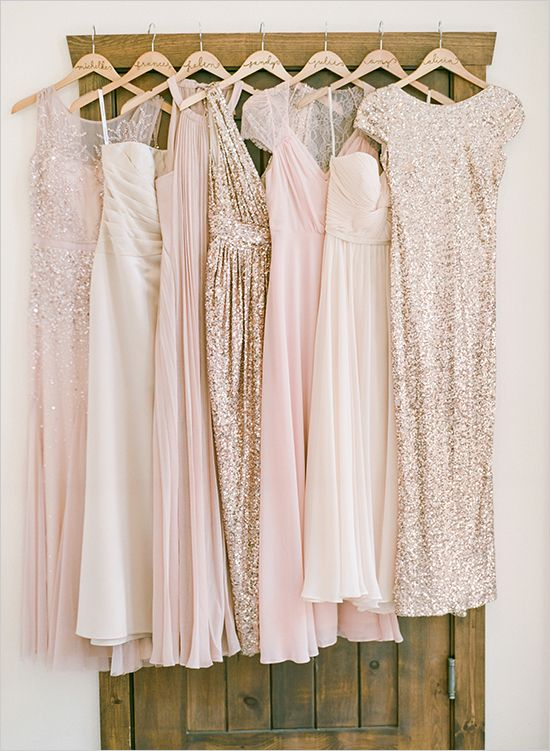 mix and match pink and giltter gold bridesmaids