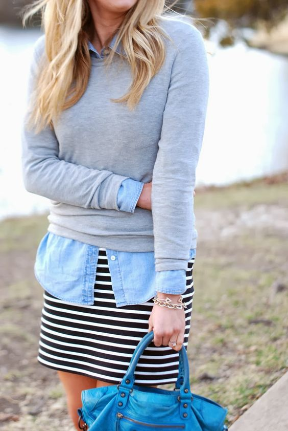 a striped dress, a chambray shirt and a grey jersey