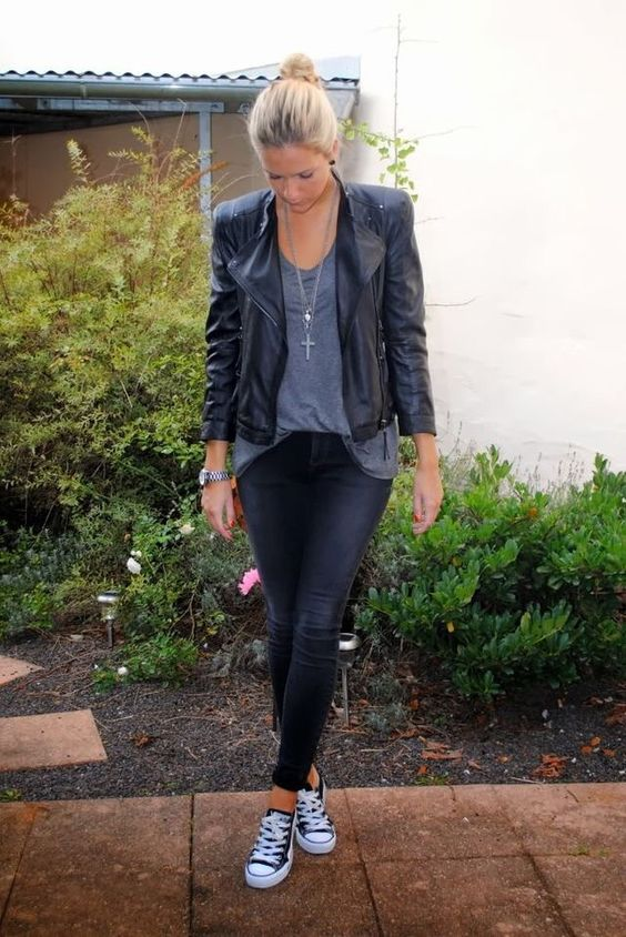 black jeans, a grey tee, a black leather jacket
