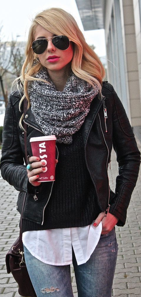 black leather jacket, a scarf, a white button up and sweater