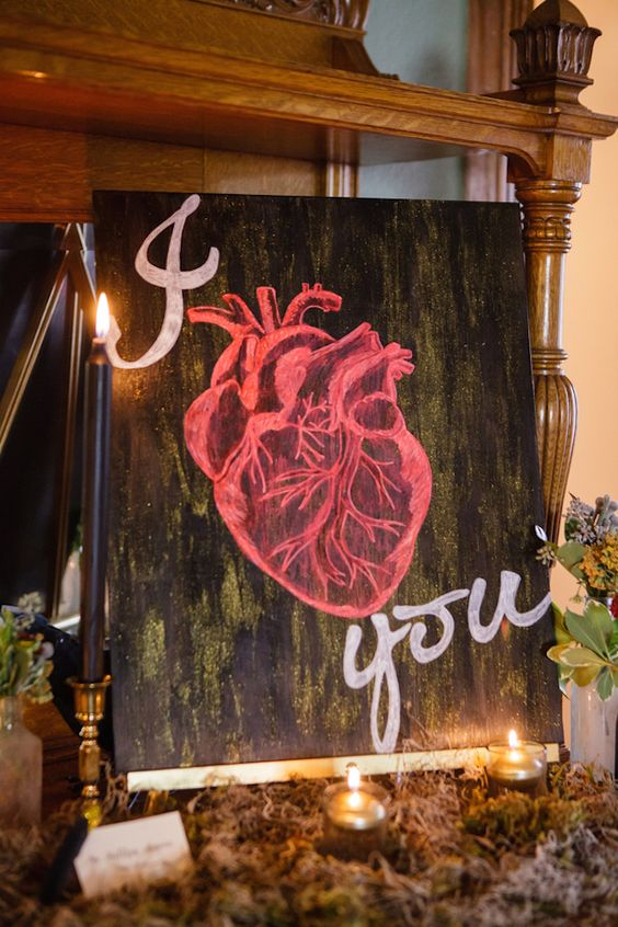 heart wedding sign and black candles