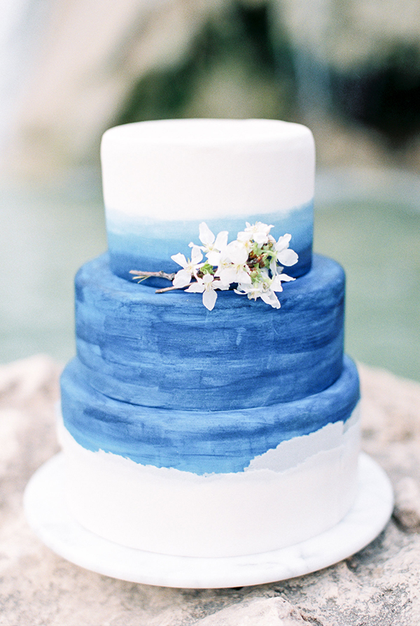 blue watercolor wedding cakes - photo by Chelsea Q White Photography http://ruffledblog.com/waterfall-elopement-wedding-inspiration