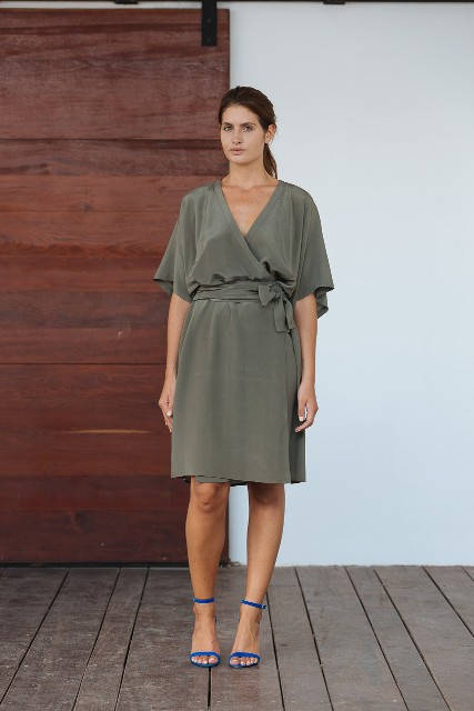 Olive color dress with blue heels