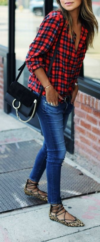 red plaid button down, skinnies and leopard lace up flats