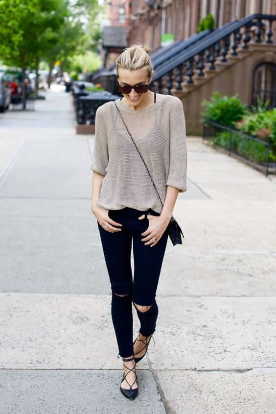 sheer top, a black top, black skinnies and lace up flats