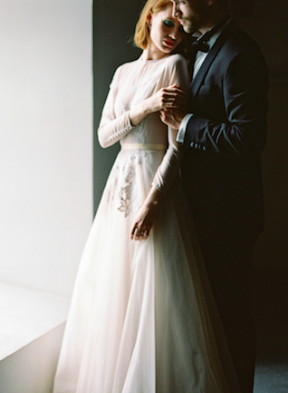 Sheer long-sleeved wedding dress | Kir & Ira Photography