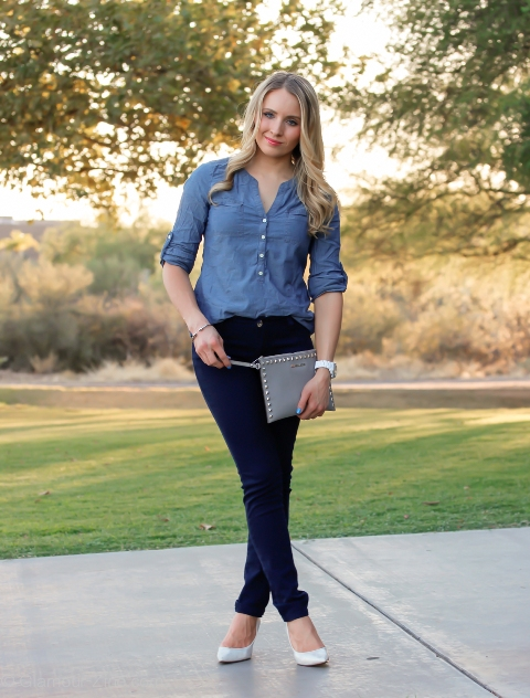 With chambray shirt and white pumps