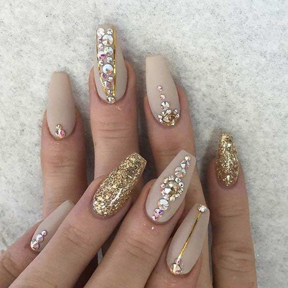 Gold and Nude Matte Coffin Nails