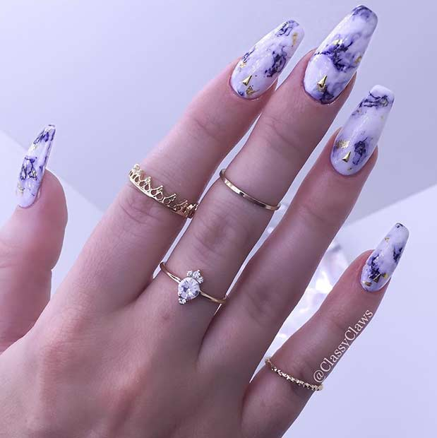 Marble Coffin Nail Design