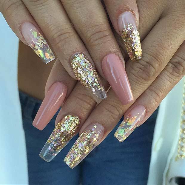 Gold Sequin Ballerina Coffin Nails