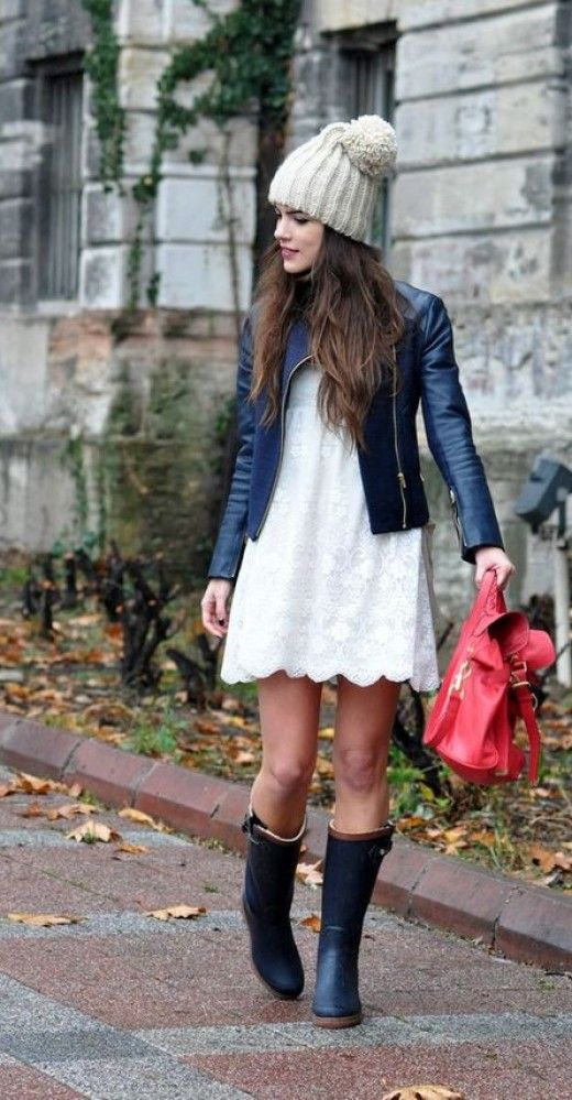 a white lace dress, a leather jacket and a chic beanie